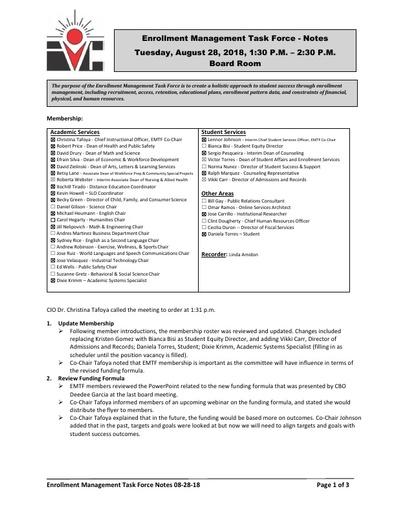 Minutes Enrollment Management Task Force 2018 08 28