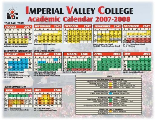 2007-08 IVC Academic Calendar