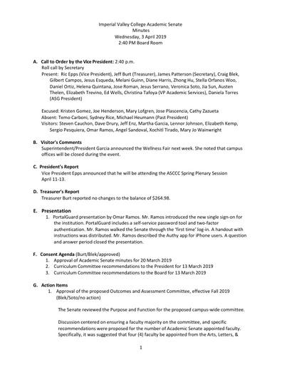 Academic Senate minutes 2019 04 03