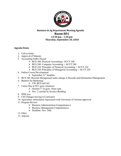 Agenda Business Department  9-20-2018
