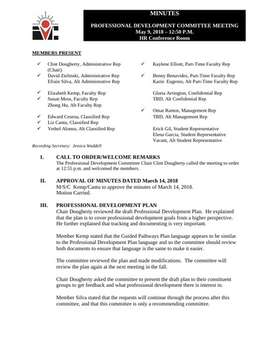 Approved Minutes Professional Development Committee 05 09 18