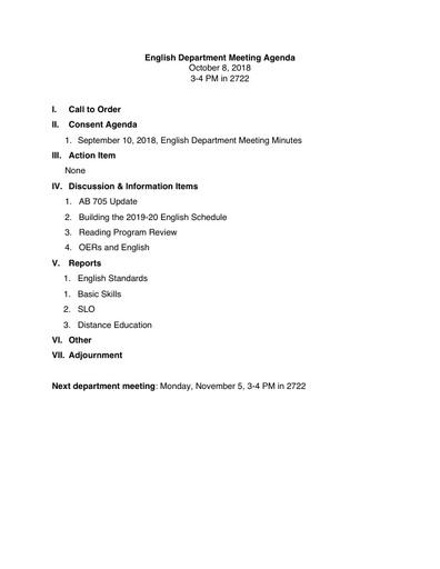 Agenda English Department 2018 10 08