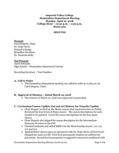 Minutes Humanities Department Meeting 2018 04 16