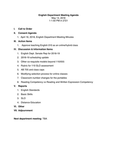 Agenda English Department 2018 05 14
