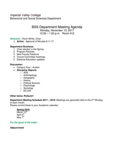 Agenda BSS Dept Mtg 11 13 2017