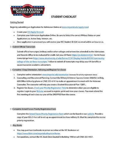 M&VSC Center Getting Started Checklist
