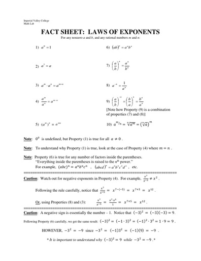 IVC factsheet exponents