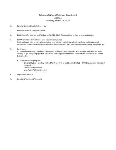 Agenda BSS Dept Mtg 3 11 2019