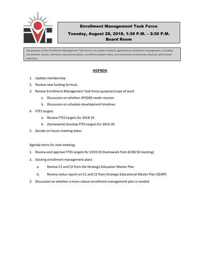 Agenda Enrollment Management Task Force 2018 08 28