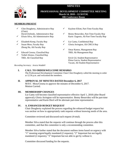 Approved Minutes Professional Development Committee 03 14 18