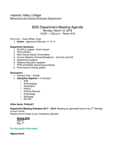 Agenda BSS Dept Mtg 3 12 2018
