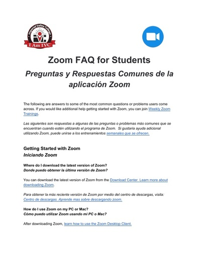 Zoom FAQ for Students