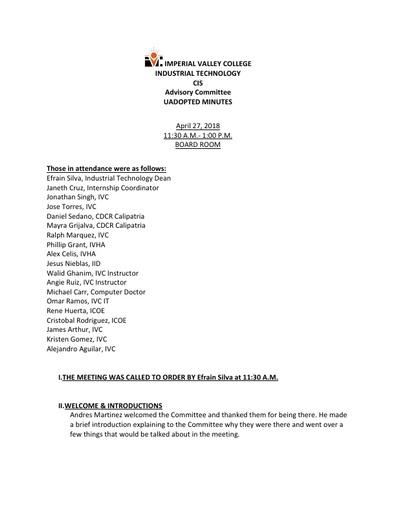 CIS Advisory Committee Meeting Minutes