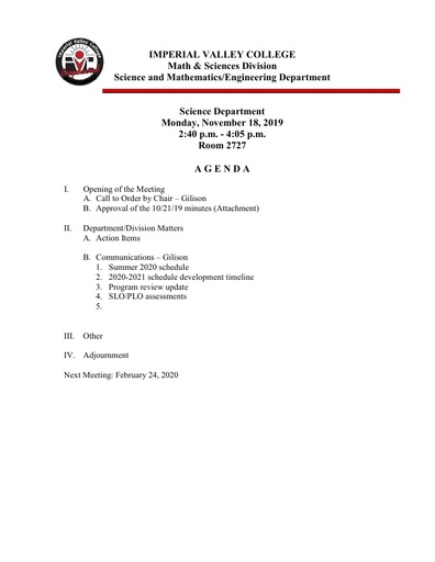2019-11-18 SME Science Agenda