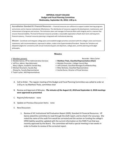 BFPC Minutes 09-26-18