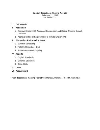 Agenda English Department 2019 02 11