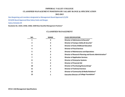 Classified Management Salary Schedule 2012-2013