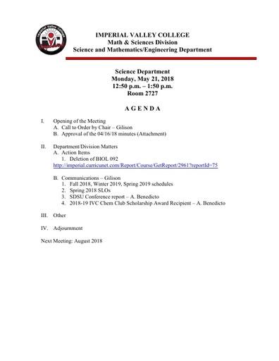 2018-05-21 SME Science Agenda