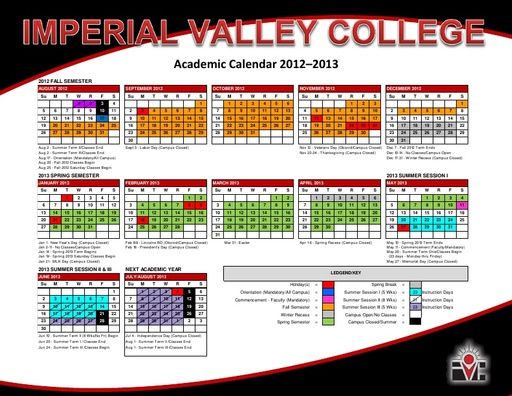 2012-13 IVC Academic Calendar