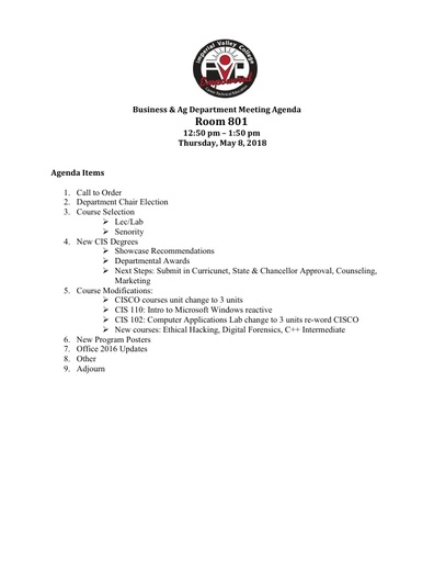 Agenda Business Department 5-8-18